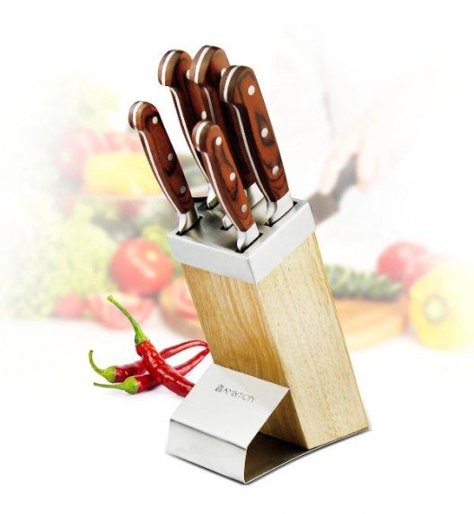 AMBITION TITANIUM Komplet noży w bloku drewnianym 6 elementów / drewniana rękojeść / 20352