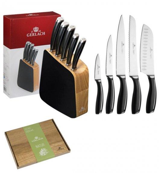 GERLACH LOFT Komplet 5 noży w bloku + deska dębowa