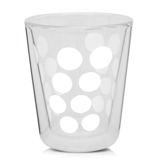 ZAK! DESIGNS Szklanka z podwójnymi ściankami, białe kropki, 200 ml / Btrzy