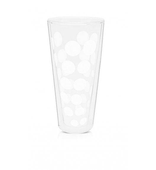 ZAK! DESIGNS Szklanka z podwójnymi ściankami, białe kropki, wysoka, 350 ml / Btrzy