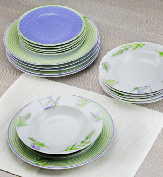 DOMINO LAVENDE Serwis obiadowy 18 el / 6 os / porcelana
