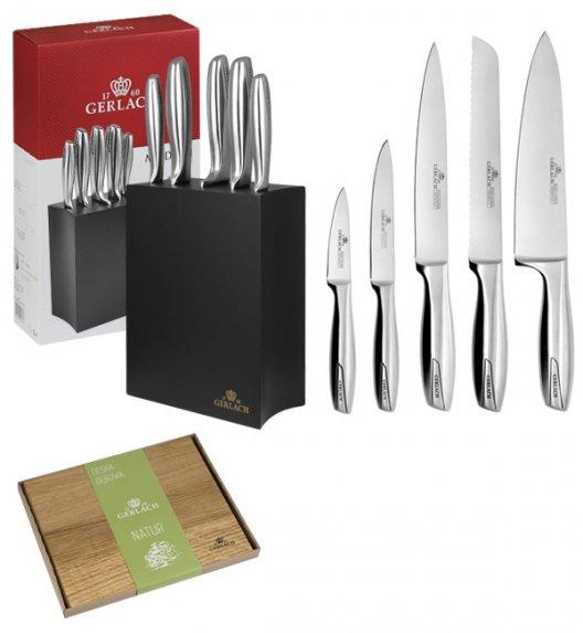 GERLACH MODERN 993 Zestaw noży w bloku czarne 6 elementów + deska Natur / czarny