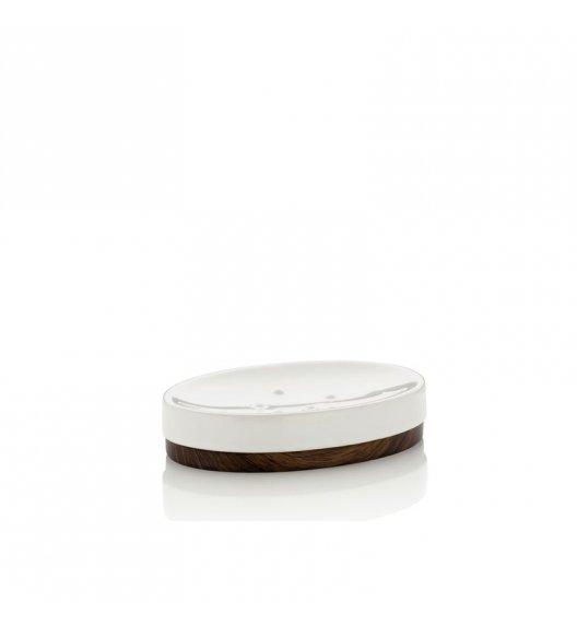 KELA Ceramiczna mydelniczka MIRKA dekor z ciemnego drewna / FreeForm