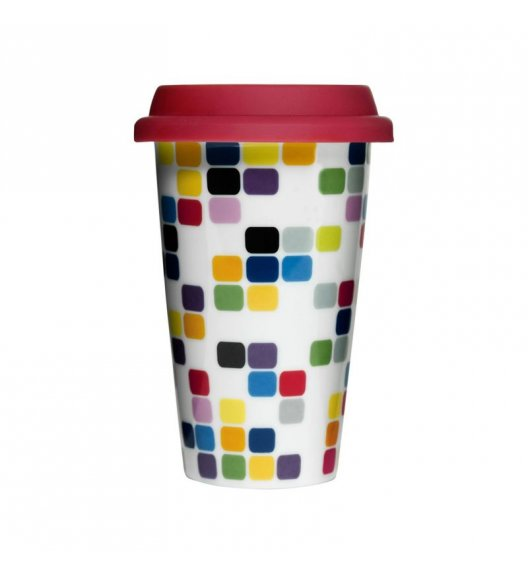 SAGAFORM Porcelanowy kubek na kawę z pokrywką CAFE 0,25 l, kostki / FreeForm