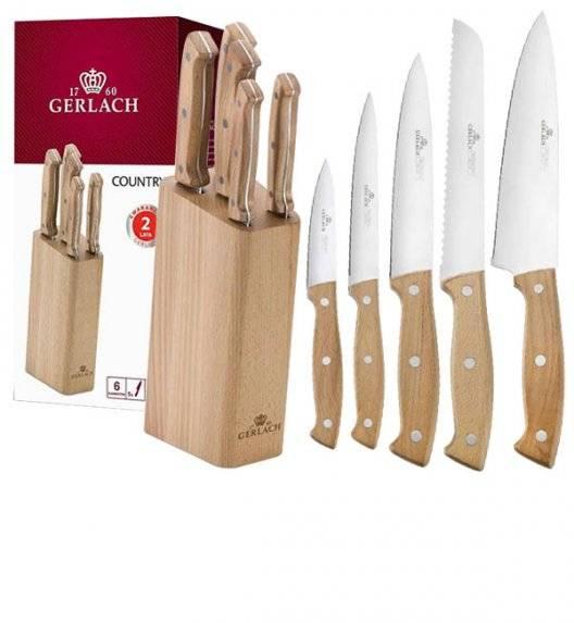 GERLACH COUNTRY Komplet 5 noży w bloku / 6 el / drewniana rękojeść