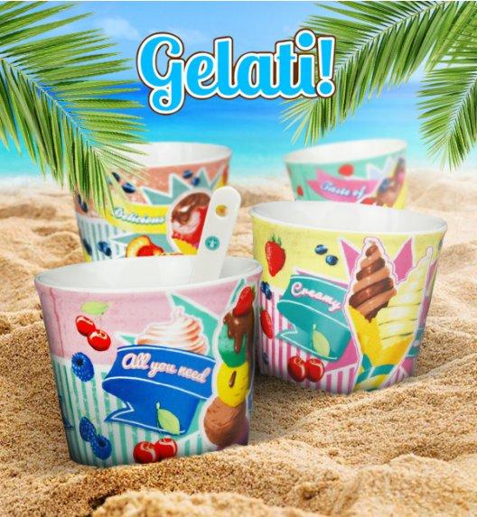 FLIRT GELATI Niemiecki komplet kubków / pucharki do lodów + łyżeczki 8 el / 4 os / porcelana