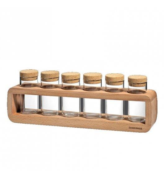 ZASSENHAUS Stojak na przyprawy z drewna bukowego + 6 szklanych słoiczków 36 x 6,5 x 12 cm /  FreeForm