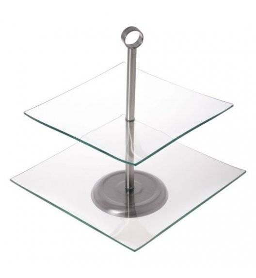 ODELO GRACE Kwadratowa patera na ciasto / 2 poziomy / szkło