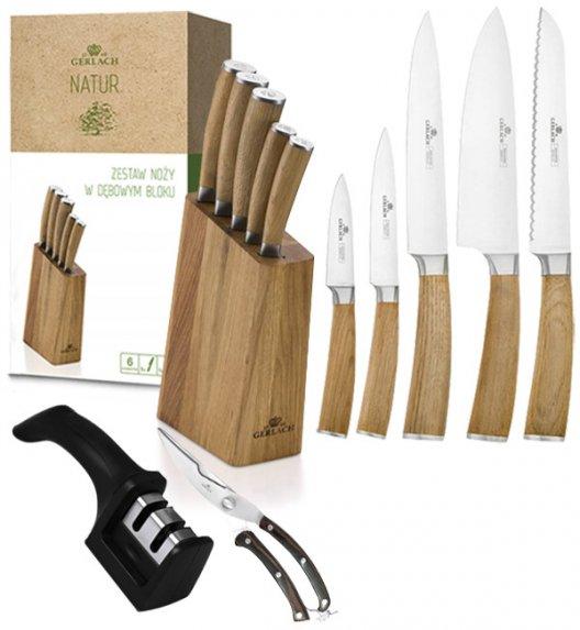 GERLACH NATUR Komplet 5 noży w bloku  + ostrzałka 2w1 + nożyce do drobiu