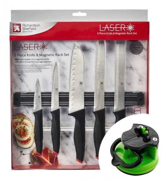 AMEFA RICHARDSON SHEFFIELD Noże kuchenne Laser Cuisine 5 el z listwą magnetyczną / technologia laserowa + ostrzałka gratis 29 zł / stal nierdzewna