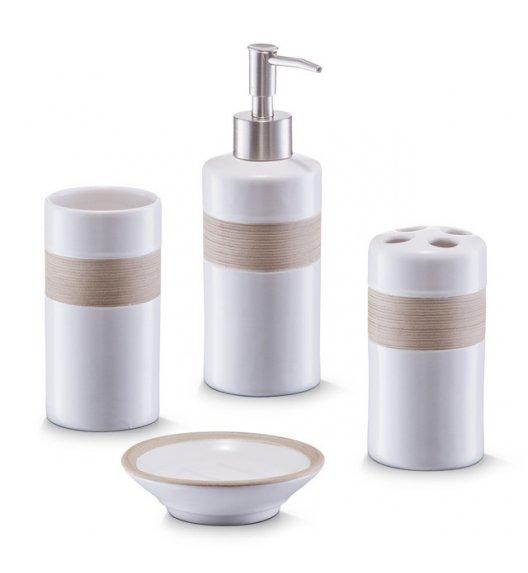 ZELLER BEIGE 4-częściowy zestaw akcesoriów łazienkowych 200 ml / ceramika