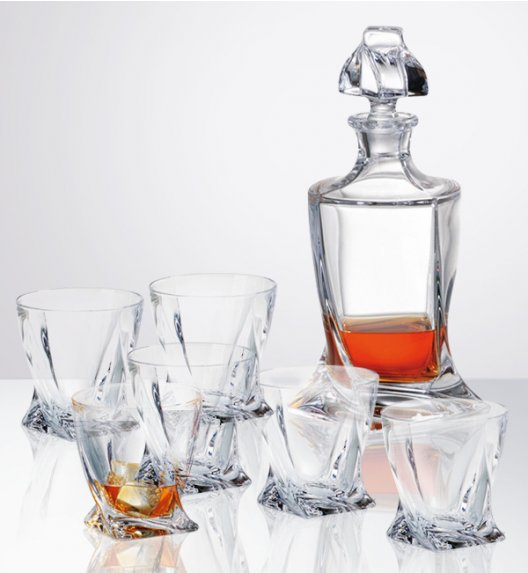 BOHEMIA QUADRO Zestaw do whisky Karafka + szklanki / 7 el / szkło kryształowe CR71A500