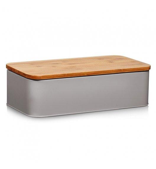 ZELLER Chlebak z bambusową deską do krojenia 2w1 / 42,5 cm / szary / metal