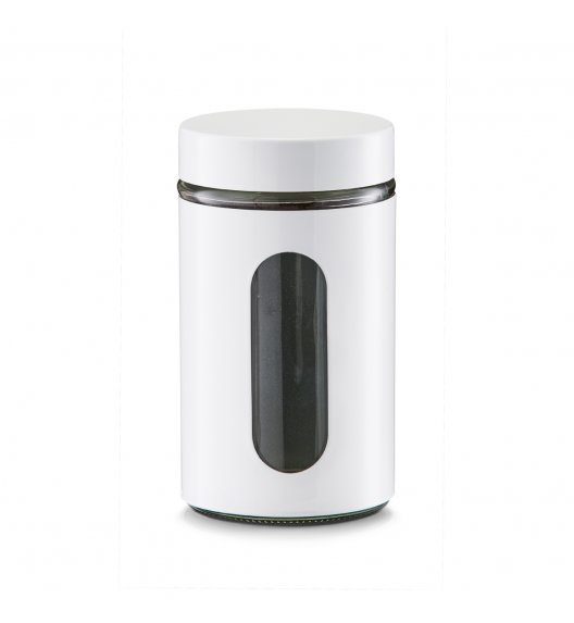 ZELLER Okrągły pojemnik do przechowywania 900 ml biały / szkło