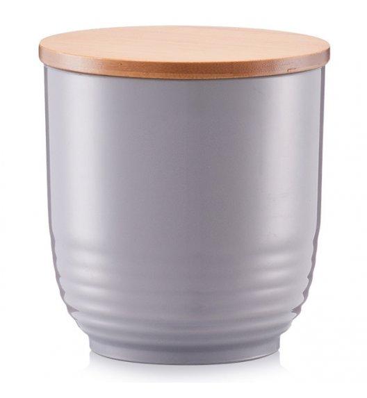 ZELLER PS Ozdobny pojemnik do przechowywania z pokrywką Ø12 cm szary / drewno bambusowe
