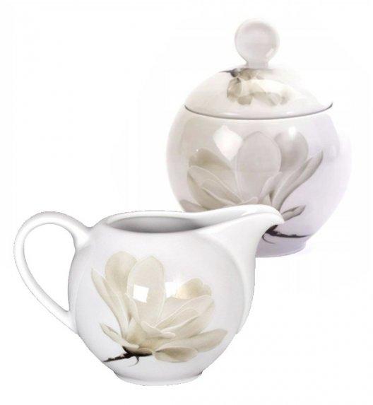 WYPRZEDAŻ! LUBIANA MAGNOLIA Komplet Cukiernica + mlecznik / porcelana
