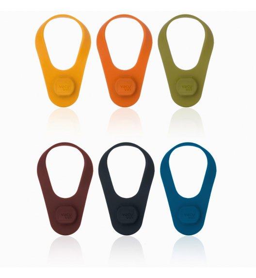 VACU VIN Komplet znaczniki z korkami na butelki 2w1 / 6 szt. / silikon / LENA