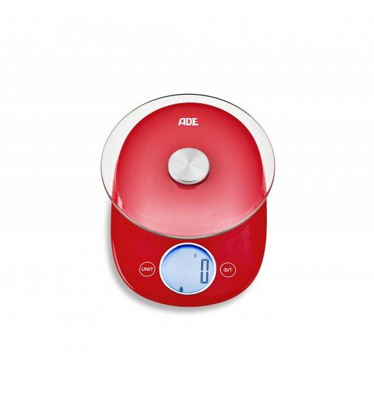 ADE CARLA Waga kuchenna 15 x 20,5 cm / czerwona / szkło / FreeForm