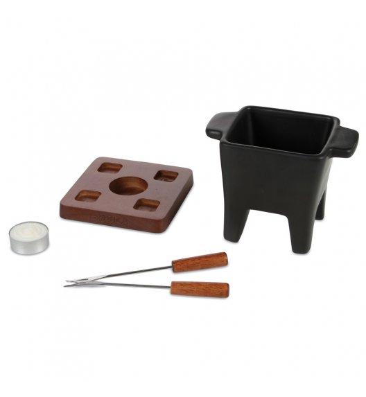 BOSKA Zestaw tapas fondue 200 ml Czarny / ceramika + drewno dębowe / LENA