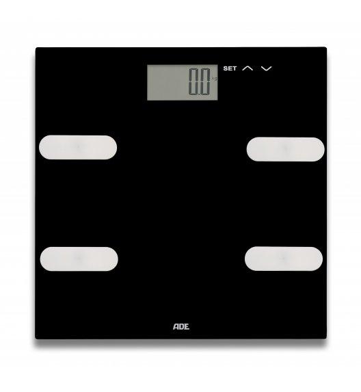 ADE MARLEEN Waga łazienkowa z analizą masy ciała 30 x 30 cm / szkło / czarna / FreeForm