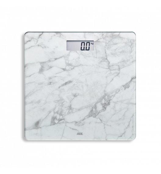 ADE AURORA Waga łazienkowa 30 x 30 cm / biały marmur / szkło / FreeForm