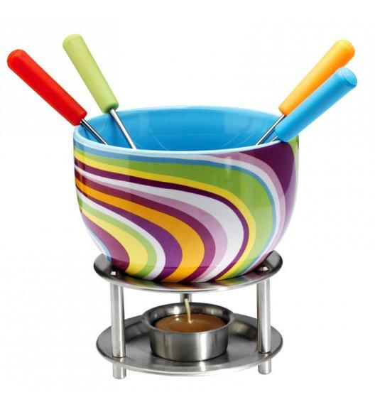 MASTRAD Zestaw do czekoladowego fondue - kolorowe paski / 8 elementów / ceramika / LENA