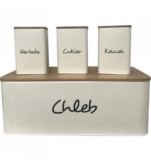 TADAR MAESTRA Chlebak + 3 pojemniki do przechowywania z napisem / kremowy / stal węglowa + drewno bambusowe