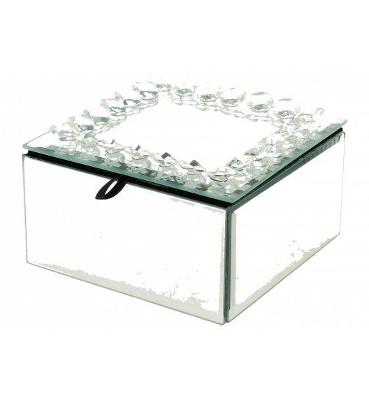WYPRZEDAŻ! DUO DIAMENT Szkatułka szklana na biżuterię 12 cm / srebrna