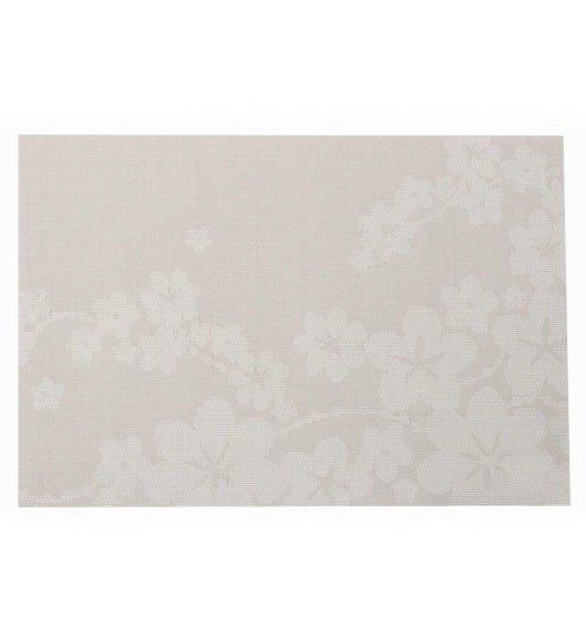 AMBITION DREAM Mata stołowa 30 x 45 cm / prostokątna / beżowa / kwiaty / 37036
