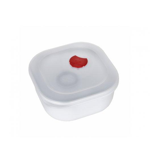 AMBITION SMART Kwadratowy pojemnik do kuchenki mikrofalowej 0,5 L / biało-czerwony / tworzywo sztuczne / 699370