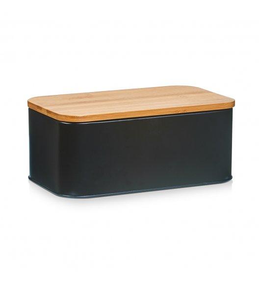 ZELLER Chlebak z bambusową deską do krojenia 2w1 / 31 cm / czarny / metal