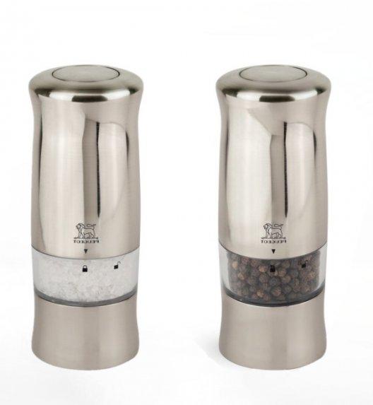 PEUGEOT ZELI Komplet 2 elektrycznych młynków do soli i pieprzu 14 cm / akryl + tworzywo ABS