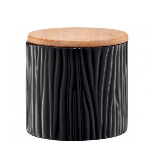 AMBITION TUVO Pojemnik z wytłoczeniami z bambusową pokrywką 670 ml / czarny / ceramika