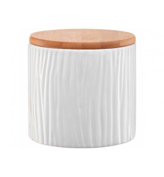 AMBITION TUVO Pojemnik z wytłoczeniami z bambusową pokrywką 670 ml / biały / ceramika