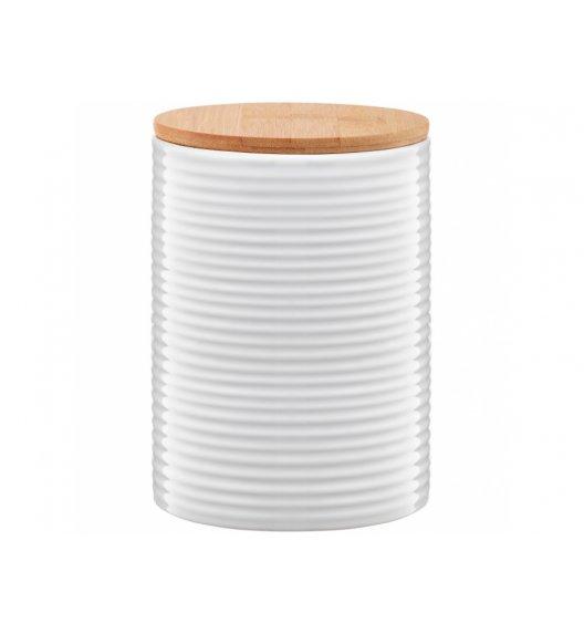 AMBITION TUVO Pojemnik z bambusową pokrywką 1,1 l / paski / biały / ceramika