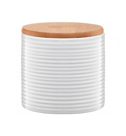 AMBITION TUVO Pojemnik z bambusową pokrywką 670 ml / paski / biały / ceramika