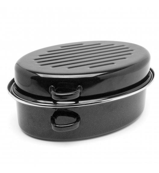 TADAR Brytfanna owalna z okuciem i grillem 5,5 L / czarna / stal węglowa / indukcja