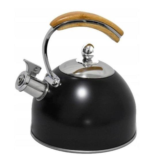 BRUNBESTE Czajnik z gwizdkiem 2,5 L / czarny mat / drewniany uchwyt / stal nierdzewna / BRN1353