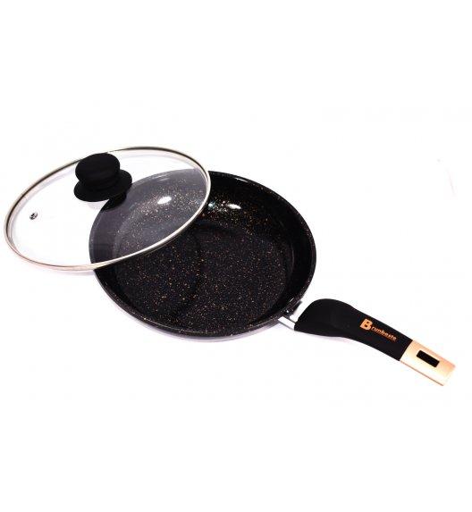 BRUNBESTE Patelnia 24 cm z powłoką marmurową + pokrywka / czarna / BRN1258