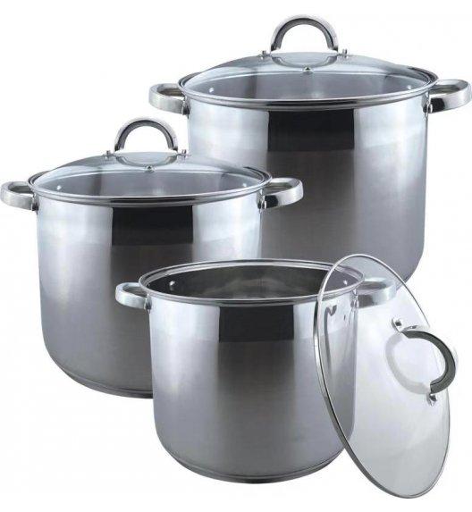 BRUNBESTE Komplet 3 garnków gastronomicznych z pokrywkami / 17 L, 20 L, 23 L / indukcja