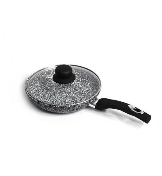 BRUNBESTE Patelnia 28 cm z powłoką marmurową + pokrywka / czarna / BRN1238
