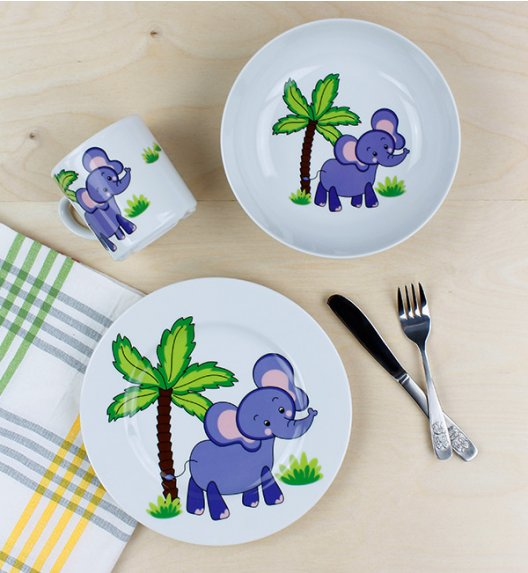 LUBIANA SŁOŃ Komplet obiadowy dla dzieci 3 el / porcelana