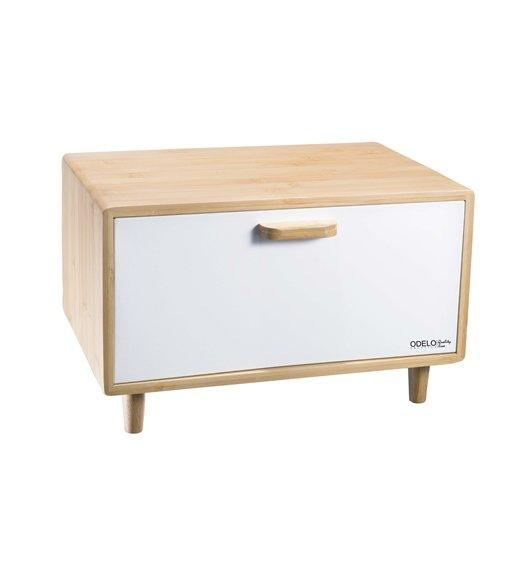 ODELO CASEY Drewniany chlebak 36 x 26 cm / biała pokrywa / OD1678