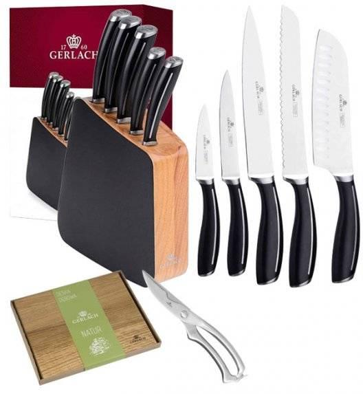 GERLACH LOFT Komplet 5 noży w bloku + nożyce do drobiu + deska dębowa