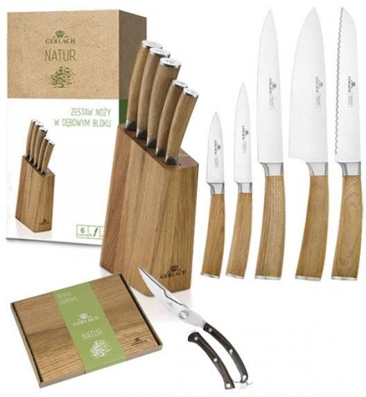 GERLACH NATUR Komplet 5 noży w bloku + nożyce do drobiu + deska dębowa