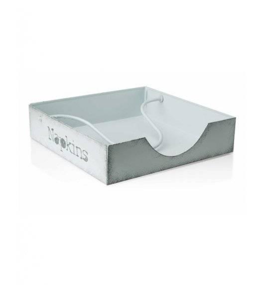 MONDEX Serwetnik metalowy 19,5 x 19,5 x 7,5 cm / biały