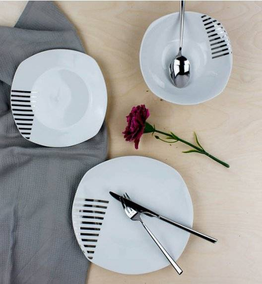 WYPRZEDAŻ! AFFEKDESIGN SREBRNE PASY Serwis obiadowy 18 elementów / 6 osób / porcelana