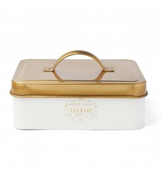 KonigHOFFER MOLISE Pojemnik na herbatę / biały /  6 przegródek / złote ornamenty / stal nierdzewna