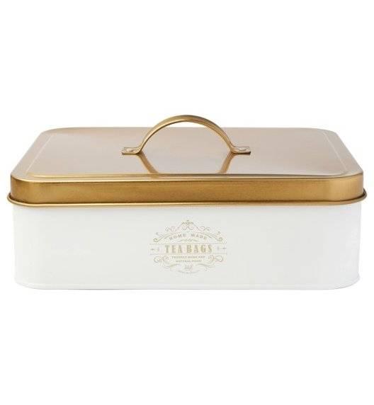 KonigHOFFER MOLISE Pojemnik na herbatę / biały / 12 przegródek / złote ornamenty / stal nierdzewna