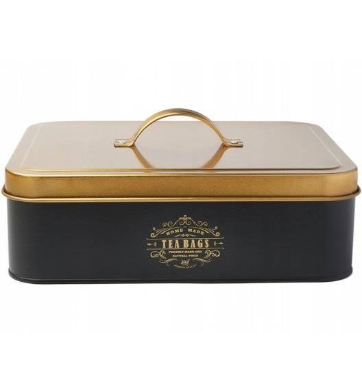 KonigHOFFER MOLISE Pojemnik na herbatę / czarny / 12 przegródek / złote ornamenty / stal nierdzewna